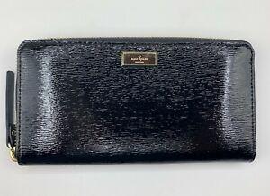 Kate Spade Bixby Place Neda Zip-Around Patent Leather Black Wallet WLRU2365