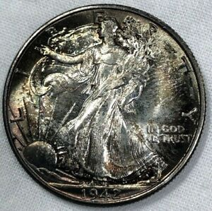 1942 P Silver Walking Liberty Half Dollar 50c ~ Obscene Luster & Beautiful Toned