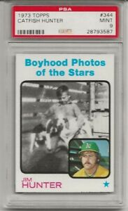 1973 TOPPS #344 CATFISH HUNTER, PSA 9 MINT, BOYHOOD PHOTO, HOF, ONLY 3 HIGHER