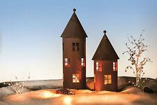 Edelrost Turm gr. Deko Windlicht Weihnachten Advent Teelicht Fensterdeko Metall