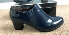 Block Heel Ankle Boots Shoes Size 5 38 Brand New Blue With Cushioned Sole
