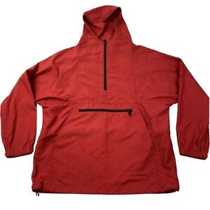 LL Bean Red Anorak Pullover Rain Jacket Windbreaker Size Medium 1/2 Zip