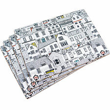 Set of 4 Placemats Nautical Coastal Houses Cottages Table Place Settings Mats