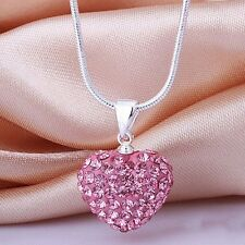 Women Crystal Heart 925 Sterling Silver Snake Chain Pendant Necklace Jewelry