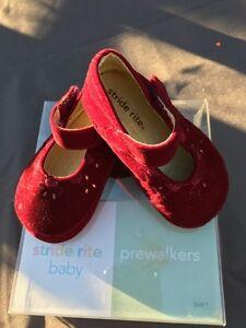 Stride Rite Burgundy Velvet Cradle Holiday Shoes New In Box Infants Girls Size 1