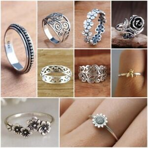 Elegant 925 Silver Rings for Boho Women Punk Party Ring Jewelry Gift Size 6-10