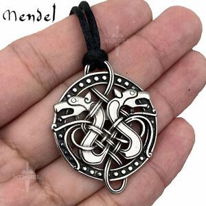 MENDEL Mens Irish Celtic Knot Viking Wolf Pendant Necklace Stainless Steel Rope
