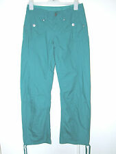 LADIES GREEN CASUAL CARGO TROUSERS COOL 100% COTTON UK 8R EUR 36 NWOT