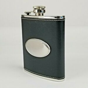 Black Leather Flask Things Remembered Engraved w/ init. RAF Stainless Steel 6oz
