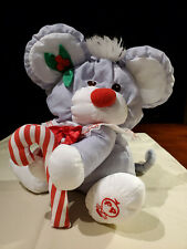 """Fisher-Price Puffalump Christmas Mouse Candy Cane Gray Nylon 11"""" Vintage 1987"""