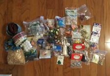 Mixed Lot Craft Supplies Junk Drawer Doll hair, wooden items, seasonal, bells +