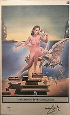 Salvador Dali Raro Color Litografía Firmado A Mano Original Leda Atomica