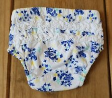 F&F @ Tesco Blue Yellow White Floral Ruffle Pants 6/9 Months