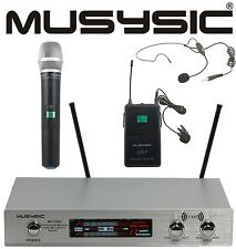 MUSYSIC Dual Channel UHF Wireless Microphone System w/ Handheld & Lapel Headset