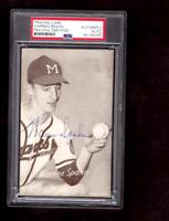 Warren Spahn Signed Exhibit Card PSA/DNA Milwaukee Braves HOF