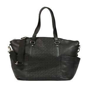 New Large Quality Real Leather Black Bag / Baby Changing Bag / Maternity Tote