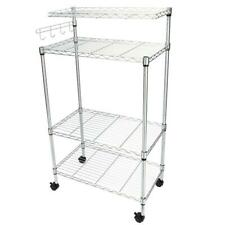 4-Tier Bakers Rack Storage Rack Microwave Oven Stand with Hanging Hooks Chrome