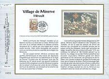 FEUILLET CEF / DOCUMENT PHILATELIQUE / VILLAGE DE MINERVE HERAULT 1993 MINERVE