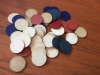 Vintage Lot of 45 poker chips 1940s Fleur de lis red blue white patriotic colors