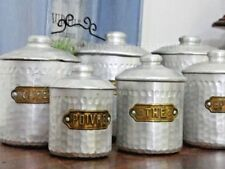 FRENCH Antique Set of 6 Brass & Aluminium Hammered Cannisters Coffee Tea Spices