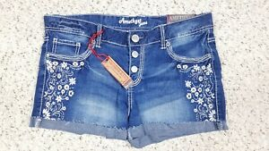 NEW Amethyst Women's Low Rise Floral Faded Wash Cuffed Denim Blue Jean Shorts