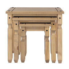 Corona Waxed Pine Mexican Style Nest of 3 Tables Living Room Furniture