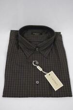 Canali Men's Modern Fit Casual Shirt Black Check Extra Large New