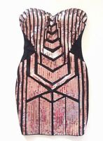 NWT bebe black gold sequin sparkly mesh cutout strapless top dress S Small club