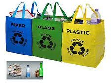 3 RECYCLE BAGS COLOUR CODED YELLOW GREEN BLUE PLASTIC GLASS PAPER ORGANISER TIDY
