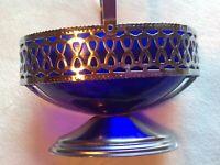 """Cobalt Blue Glass Serving Bowl Oval Chrome Silver Tone Vintage 5"""" Oval Basket"""