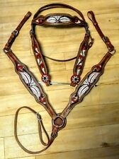 Red/Maroon, Black, White Headstall/Breastcollar Tack Set with Gold Glitter...