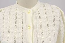 VTG 1960s Womens Petronelli Patterned Acrylic Cardigan Sweater Cream NWT 38 NOS