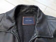 TOMMY HILFIGER leather jacket LARGE black car coat