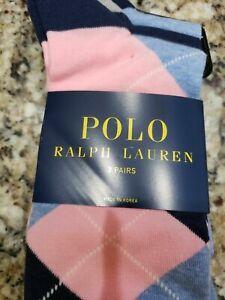 POLO RALPH LAUREN MENS PINK NAVY BLUE ARGYLE/SOLID SOCKS COTTON/POLY 3 PAIRS NIP