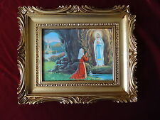 Bild mit Rahmen Maria am Felsen Barock Antik Rahmen in Gold Heilig Religiös