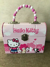 Hello Kitty Tin Purse Lunchbox Beaded Handle Pink with Dog