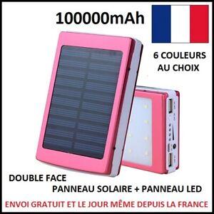 BATTERIE CHARGEUR EXTERNE SOLAIRE 2 USB PANNEAU LED 100000mAh POWERBANK SECOURS