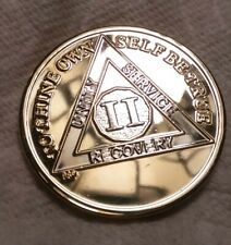 2 YEAR AA GOLD/SILVER Bi-Plated Alcoholics Anonymous CHIP COIN MEDALLION II