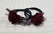 ELASTIC PONYTAIL HOLDER WITH LEATHER FLOWER CHARM HAIR ACCESSORY MAROON