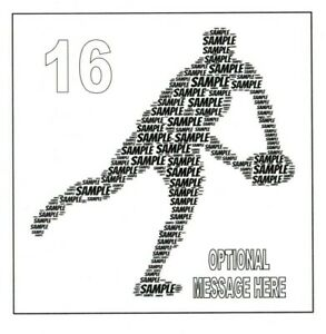 PERSONALISED WORD ART RUGBY BIRTHDAY CARD - ANY COLOUR, NAME, AGE  - BOY/SON/DAD
