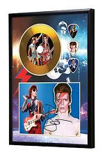 David Bowie Gold Vinyl Look CD, Autograph & Plectrum Display #2