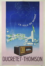 AGOSTINI AFFICHE DUCRETET THOMSON RADIO TSF PARIS TOUR EIFFEL TROCADERO ci 1930