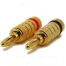 Speaker Wire Banana Plugs Gold Plated Audio Connectors  - 4 Pcs Lot Pack 2 Pair