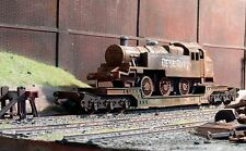 Scrapyard BR tank loco on a low loader, heavily rusted & weathered ref 1