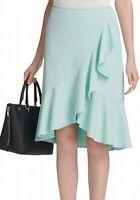 Calvin Klein Womens Skirt Sea Green Size 10P Petite Asymmetrical Ruffle $99 275