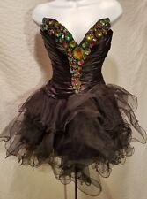 Sherri Hill Stunning Black Prom Short Rhinestones Formal Dress Size 4