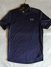 NWT MENS UNDER ARMOUR COLDBLACK FITTED RUNNING SHORT SLEEVE SHIRT~SMALL~S~blue