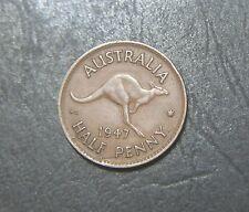 1947 Australian Half Penny, Die crack Error Coin,