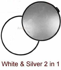 80cm Round 2 in 1 silver/white disc light Reflector UK Seller