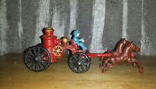 Vintage Cast Iron Horse Drawn Fire Steam Wagon-Arcade?